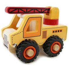 Kaper Kidz - Wooden Crane: This solid wooden crane truck from Kaper Kidz is a great addition to any car and truck collection. With its solid wheels, moveable crane and quality design, it is made to be played with and withstand the toughest of little kids. #alltotstreasures #kaperkidz #woodencrane #woodentoys #crane #construction