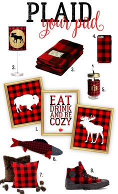 Plaid Your Pad There is a chill in the air here in Upstate NY. Something about that red and black. Plaid Decor, Checkerboard Pattern, Christmas Decorations, Holiday Decor, Buffalo Check, Buffalo Plaid, Handmade Shop, Winter Christmas, Pattern Making