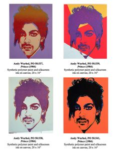 Prince Series 1984 by Andy Warhol: Lilac Prince Red/Yellow Prince Eggshell Prince Orange Prince Warhol Paintings, Andy Warhol Pop Art, Orange Painting, Unique Paintings, Roger Nelson, Prince Rogers Nelson, Eggshell, Drawings, Lilac