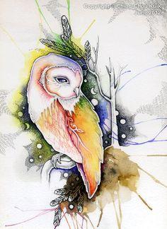 a barn owl - Original art watercolor illustration