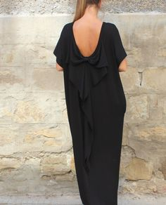 Black backless dress Maxi dress Caftan di cherryblossomsdress