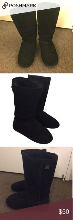 """Bearpaw black boots These Bearpaw boots are black suede with a plush wool and sheepskin blend lining with a sheepskin footbed and TPR rubber wedge outsole. These are about 12"""" tall (about upper mid calf). These have been worn several times. Some wear is shown near the sole as shown in pic. Otherwise, in good condition. Size 7, and I'm a size 7.5 for comparison. BearPaw Shoes Winter & Rain Boots"""