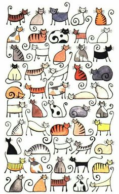 Doodle Ideas To try In Your Bullet Journal/ Decorate your Bujo with these doodles. From cute cactus doodles, to sea life, to cute little food. Dress up your Bullet Journal! Doodle Art, Doodle Drawings, Cat Doodle, Doodle Ideas, Drawings Of Cats, Animal Line Drawings, Drawing Animals, Cat Art Print, Animal Art Prints