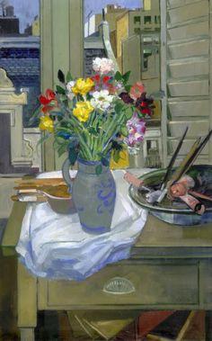 """Carlos Alonso, """"Flores en la ventana"""" óleo 100 x 70 cm."""