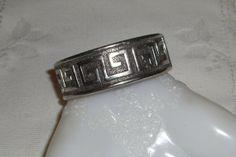 Vintage Antiqued Silver Tone Grecian Key by SouthGeorgiaVintage, $20.00