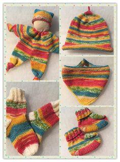 """Von einer älteren Bekannte, die in den nächsten Wochen Ur-Uroma (!) wird, wurde ich gebeten aus einem Knäuel Sockenwolle irgendetwas für das Kleine zu stricken """"Mehr han I net"""". Na, aus…"""