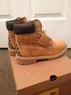 Spiked, Painted Cheetah Print Timberland Boots. LOVE.