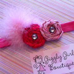 Trying my hand at new baby headbands! Giggly Girl Bowtique!