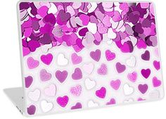 Festive Pink Hearts Confetti | Design available for PC Laptop, MacBook Air, MacBook Pro, & MacBook Retina