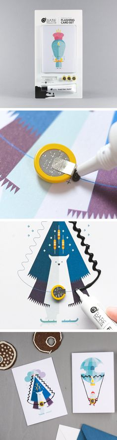 Say #MerryChristmas with these custom-made greeting cards. Learn how to use Electric Paint in this photo-tutorial.   More on our website: https://www.bareconductive.com/shop/flashing-card-set-celebration-circuit/