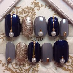Nails Design Grey Navy 42 Ideas in 2020 Gel Nail Art, Acrylic Nails, Nail Nail, Grey Nail Designs, Pedicure Designs, Gray Nails, Elegant Nails, Nail Accessories, Simple Nails