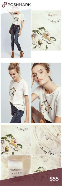 "NWT Anthropologie Giddy Up Western Tee New with Tags Anthropologie Postmark Western Giddy Up Tee. Size Small. 100% Cotton. Relaxed fit with slight oversized look. Lovely embroidered ""Giddy Up"" graphics along collar.   Length 27.5"" 