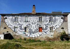 Street Art - Grafite em edifício no Fundão (terra das cerejas SUPER,SUPER 5 ***** ) - Portugal.WOW! UAU!