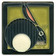 4x4 Hare - Olive  | Charley Harper Collection | Motawi Tileworks