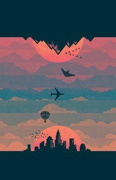 'Sunrise / Sunset (alternate)' iPhone Case by Wayne Minnis Wallpaper Space, Scenery Wallpaper, Wallpaper Backgrounds, Desenho Pop Art, Images Star Wars, Minimalist Wallpaper, Grafik Design, Aesthetic Art, Landscape Art