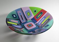 Fused Glass Bowl - i like the use of opaque and transparent to give different areas different layers.