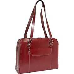 "McKlein USA Glenview 15.4"" Leather Ladies Laptop Case - Red - via eBags.com!"