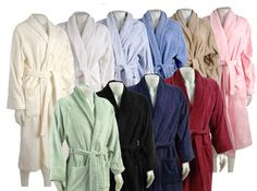 "Terry Bath Robe Robe is crafted from soft, durable 100% Egyptian Cotton. Robe features terry belt, two front patch pockets, and fold back style sleeve. UniSex Design Small: 50"" long x 52"" wide - Belt 71"" Medium: 51"" long x 53"" wide - Belt: 71"" Large: 52"" long x 55"" wide - Belt: 72"" X-Large: 55"" long x 63"" wide - Belt: 72"" #egyptiancotton #egyptiancottonrobes #linens #bathrooms #giftideas"