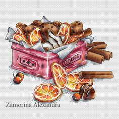 "Cross stitch design ""Box with cookies"" #sa_stitch #sa_pattern #pattern"