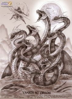 Yamata-no-orochi- Japanese myth: a dragon with 8 heads and 8 tails. It was defeated by the storm god Susanoo.