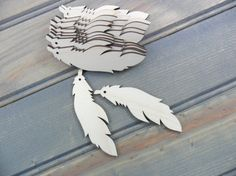12 Earrings Feather Shape Wood Cutout 3 x 7/8 x by CraftingDaily
