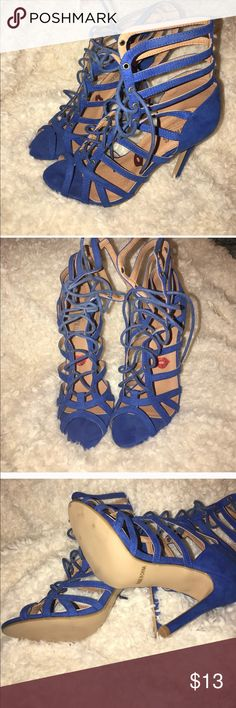 HEELS Blue open toe Lace up gladiator sandals. Shoes Heels