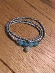 Miyuki grey labrador  with turquoise and white beads
