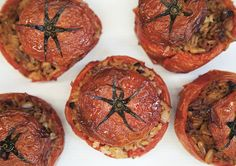 By The Greek Vegan Stuffed tomatoes are simply delicious, gorgeous red and filled with love. The crunch of the pine nuts and sweetness of the red currants Greek Recipes, Vegan Recipes, Cooking Recipes, Vegan Food, Vegan Life, Fast Recipes, Vegan Snacks, Rice Recipes, Gourmet