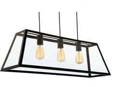 Firstlight 'Kew' 3 Light Ceiling Pendant, Black Finish & Clear Glass - 3438BK None