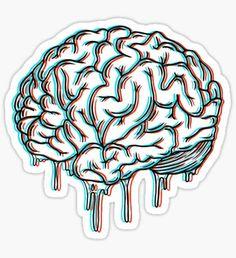 """""""brain"""" Stickers by Jakob Schnitker Tumblr Stickers, Cool Stickers, Laptop Stickers, Brain Drawing, Brain Art, Brain Tattoo, I Tattoo, Blackwork, Good Notes"""