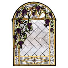 Meyda Tiffany Tiffany Floral Country Grape Diamond Trellis Stained Glass Window - 66048