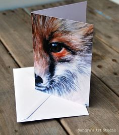 """Greeting card """"FOX""""  based on original painting; blanc card for a variety of occasions"""
