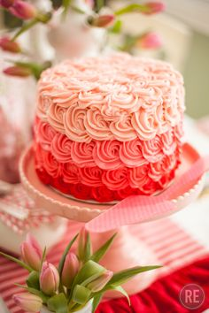 Ombre Valentine's Day Cake with Pink Cake Stand
