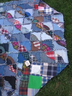 Upcycled Denim Vintage Homespun Primitive Country Quilt - Flannel & Rag. $200.00, via Etsy.