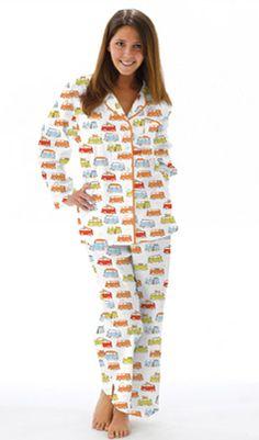 """Munki Munki Women's Poplin """"Camper Vans"""" Pajama in White - The Pajama Company"""