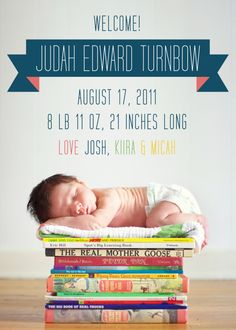What a great photo idea for a newborn shoot! (of course our kid would be on a stack of graphic novels and trashy romance novels)