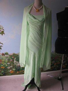 B'Dazzle Women Green Trailing Chiffon Evening Beaded Dress SZ 4 #BDazzle #Formal