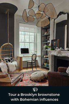 Tour this modern yet classic brownstone in Brooklyn, New York, and get inspired by the gallery walls, restored fireplaces, textured decor, and calming palette. #windows #windowcoverings #rug #arearug #pouf #plants #greenery #mantle #mantel #openshelving #bookshelves #shelving #collecting #antiques #display #rattan #fur #fauxfur #faux #persian #desk #armchair #mirror #chandelier #pendant #paint #moulding #molding #fireplace #recliner #wicker #pillows #caning #cane #paint New York Brownstone, Brooklyn Brownstone, Brownstone Homes, Home Interior, Interior Design, Interior Modern, Interior Paint, Cheap Home Decor, Home Decor Accessories