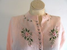 1950s Cardigan / Vintage 50s Beaded Sweater by dirtybirdiesvintage, $44.00