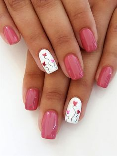 60 Pink, Red, or White Valentine's Day Nail Ideas- 60 Pink, Red, or White Valentine's Day Nail Ideas - Best Nail Art Designs, Colorful Nail Designs, Cute Nails, Pretty Nails, Gel Nails, Acrylic Nails, Coffin Nails, Red And Gold Nails, Pink Nail Art