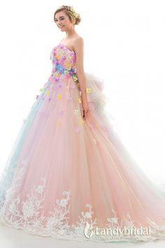 レインボーカラードレス プリンセス パッスル付き カラフルドレス リボン飾り 豪華な刺繍とビーズ お色直し LD4156