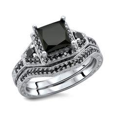 Noori 14k White Gold 2ct Tdw Certified Black Diamond Princess Cut 2 Piece Ring Set