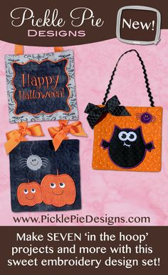 Halloween In the Hoop Machine Embroidery Quilt Block Projects