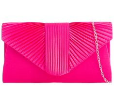 Pink satin clutch bag / shoulder bag with pleated detail to the front.  £17.50 with FREE UK Delivery  The bag fastens with a flap over the top and a concealed metal magnetic stud, it has a detachable metal chain shoulder strap for two different looks.  Measurements : approx. 9.75 inches / 24 cm wide, approx. 5.25 inches / 13 cm high and approx. 2.25 inch / 5 cm in depth.  Fabric lined inside . Pink Clutch, Clutch Bags, Pink Shoulder Bags, Shoulder Strap, Prom Accessories, Pink Satin, Wallets For Women, Evening Bags, Leather Crossbody