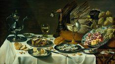 Een grote kalkoenpastei is de blikvanger van deze rijk gedekte tafel. De pastei wordt bekroond door een echte, dode kalkoen. Pieter Claesz schilderde dit stilleven in 1627.