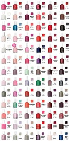 Color guide for Essie nail polish