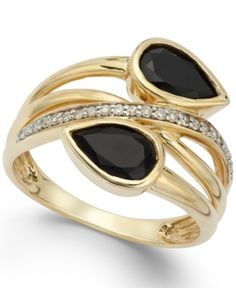Drama at your fingertips. This extra-special ring features a unique, multi-row design bedecked with pear-cut onyx ct.) and single-cut diamonds ct. Crafted in gold. 14k Gold Jewelry, 14k Gold Ring, Sea Glass Jewelry, Luxury Jewelry, Diamond Jewelry, Jewelry Rings, Fine Jewelry, Jewelry Watches, Turquoise Jewelry