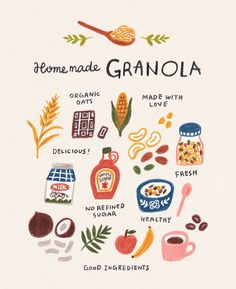 Food illustration of home made granola. The post Food illustration of home made granola. appeared first on Food Monster. Illustration Inspiration, Art And Illustration, Food Illustrations, Dessert Illustration, Coffee Illustration, Granola, Breakfast And Brunch, Breakfast Ideas, Food Drawing