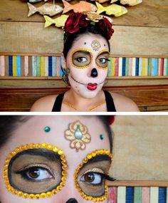 Maquiagem artística de Caveira Mexicana Sugar Skull Passo a passo