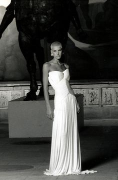 Eve Salvail modeling a Lloyd Klein for Gres micropleated evening gown circa 1995.